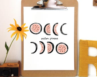 Melon Phases - Art Print - 5x7, 8x10, 11x14 Moon Phase Art