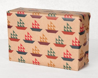 Sail Boat Pattern Wrapping Paper / 12 Sheets
