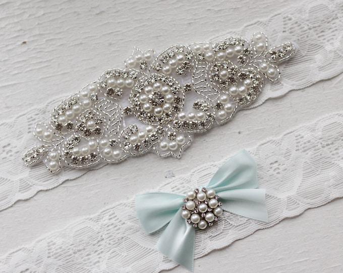 Something blue Wedding Garter Set NO SLIP grip vintage rhinestones pearl lace rhinestone, pearl garter B08S-B32
