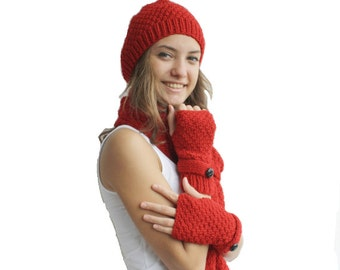 Hand Knit Red Wool Warm set / For Women For My Mom / Christmas Gift / Gift For Her