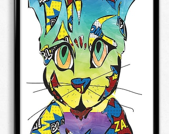 Kristoff The Kung-Fu Cat  A3 giclee print