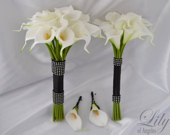 """Bride/MoH Bouquets Groom/Best man Boutonnieres Wedding Bridal Bouquet Real Touch Calla Lily White - More Colors """"Lily of Angeles"""" CAIV01"""