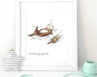 Otter Print- Otter Nursery Art- Original Otter Art- Otter Watercolour- Otter Gift