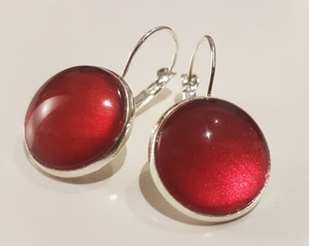 Red nailpolish earrings with a silver plated lever back