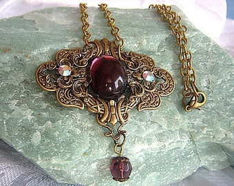 Victorian Style Necklace / Antiqued Brass Necklace / Vintage Glass Cabochon /Adjustable Necklace / SwarovskiCrystals / Amethyst Necklace