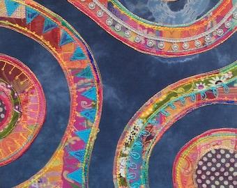 Indigo Swirl: framed textile art