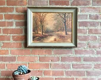 vintage, framed oil painting, landscape, trees, and brook