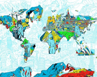 world map, drawing, collage, colourful, digital file