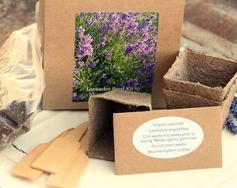 Lavender Garden Gift Set, Lavender Seed Kit, Heirloom Lavender Seeds, Seed Starting Supply, DIY Plant Kit, Gift for Mom, Gardening Gift Set