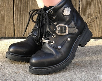 Harley Davidson Boots- Black Lace Up Ankle Boots- Vintage Hiking Boots- Grunge 90s Shoes- Moto Motorcycle Buckle Boots- Womens Size 5.5