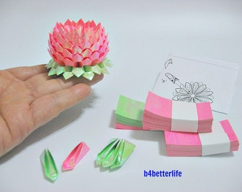 A size Small Pink Color Origami Lotus plus 300 sheets of DIY Paper Folding Kit. (AV Paper Series).