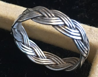 Sterling silver braided celtic band ring   VJSE