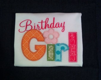 "Cute Little ""Birthday Girl"" Appliqué Shirt. Size 6"