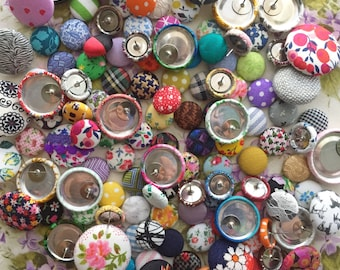Custom Order Button Earrings / 10 Pairs / Fabric Covered / Wholesale Jewelry / Bulk Jewelry / Gifts for Her / Stud Earrings / RESALE