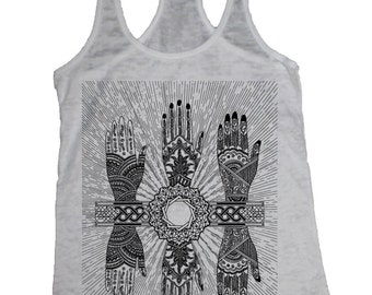Women's MYSTIC HANDS Tank Top Sacred Geometry Psychedelic Tattoo Style Shirt