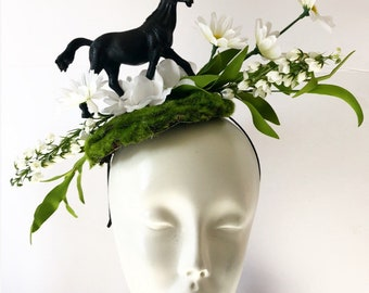 Horse Fascinators- Derby- Horserace Fascinator- Derby- Horse headband- Floral fascinator- Headdress NY- Derby- Fascinator- Polo Classic