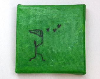 The Butterfly Catcher mini painting on canvas, small gift, green art, heart art, whimsical art, optional display easel