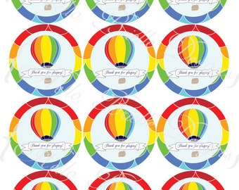 Rainbow Hot Air Balloon Printable Favor Tags - Boy Colors