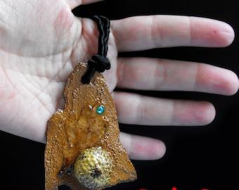 Fantasy forest necklace oak jewelry oak leaf tree bark elvish oak leaf jewelry elf necklace elven wedding oak leaf necklace bark necklace