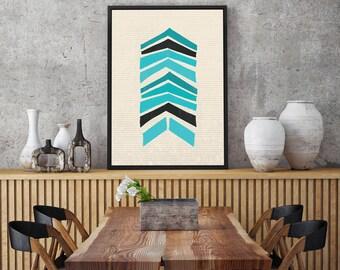 Turquoise Mid Century Retro Chevron Pattern Print - Scandinavian Design, Modern Minimalist Wall Art, Folk Art, Chevron, Geometric Print