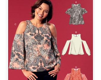 McCall's Pattern M7510 Misses' Cold-Shoulder Tops with Flared or Cuffed Sleeves