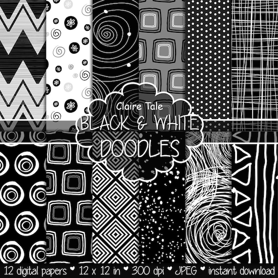 """Doodle digital paper: """"BLACK & WHITE DOODLES"""" with doodles, chevrons, square, circle, triangles, stripes, spatter, polkadot and ink patterns"""