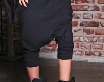 Women Harem Pants/ Womens Pants/ Plus Size Harem Pants/ Black Pants/ Drop Crotch Pants/ Harem Pants/ Oversized Pants/ Low Crotch Pants