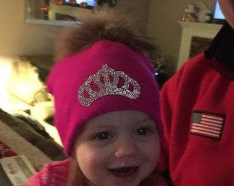 Fur pom pom knit hat, Crown Pom Pom Hat. Princess Pom Pom Hat, Winter Hat, Toddler Hat, Girly Girl Hat, Real Fur Pom Pom Hat