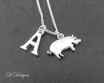 Pig Necklace, Personalised Pig Jewellery, Personalised  Necklace, Sterling Silver Necklace, Personalised Silver Pig Necklace, Pig Gift