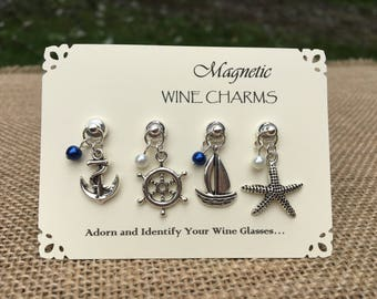 Nautical Themed Magnetic Wine Charm Set - Stemless Wine Glass Charms