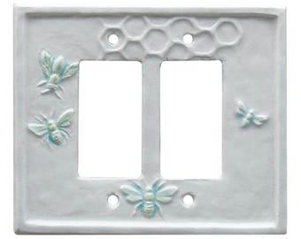 4 Honeybees Ceramic Double Rocker Switch Plate in White Agate Glaze