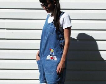 Looney Tunes Sylvester + Tweety Bird Denim Dress! 90s Blue Jean Sleeveless Embroidered Cartoon Character Dress w/ Pockets + Buttons, Medium