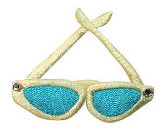 ID 9038 Pair of Sun Glasses Patch Tinted Shades Embroidered Iron On Applique