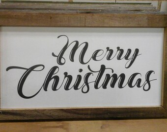 Merry Christmas painted sign with barnwood frame