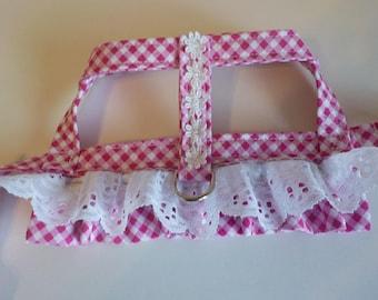 Dog Harness - Dog Clothes - Custom Dog Harness -Pink Check Ruffle with Overskirt - Dog Apparel -  Dog Dress - Small Dog Harness