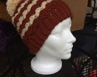 Cocoa and creme slouch beanie with pom  pom