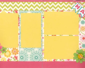 12x12 HAPPY DAY scrapbook page kit, premade happy scrapbook, 12x12 premade scrapbook page, premade scrapbook pages, 12x12 scrapbook layout