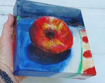 Apple art, 6x6 gallery wrap canvas art, An Apple a Day, kitchen art, teacher gift, apple painting, teacher graduation gift, original art