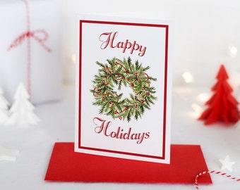 """Watercolor Christmas Card Set - Holiday Greeting Card Merry Christmas - Happy Holidays """"Christmas Wreath"""" Greeting Card - Season's Greetings"""
