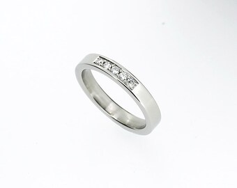Wedding band with diamonds, platinum, gold, palladium, diamond wedding band, modern, diamond engagement, anniversary, simple pave ring