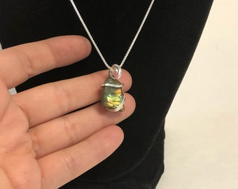labradorite in solid sterling silver with chain, silver chain, labradorite pendant, cold-forged pendant
