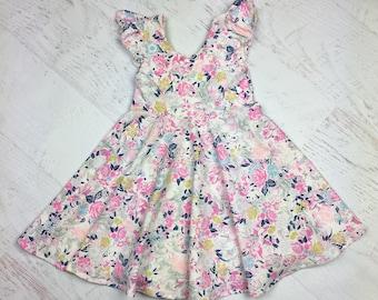 Girl Twirl Dress; girl Circle Dress; toddler twirl dress, circle dress in Soft floral