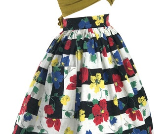 Late 1950s Floral Stripe Woven Cotton Skirt - 50s Novelty Skirrt