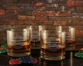 Old Fashioned Personalized Whiskey Tumbler with Groomsman Monogram Designs & OPTIONAL Monogrammed Shot Glass and Engraved Whiskey Stones