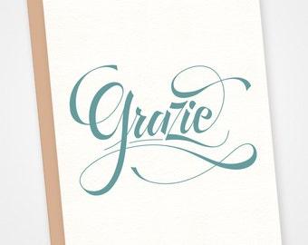 Grazie - letterpress greeting card