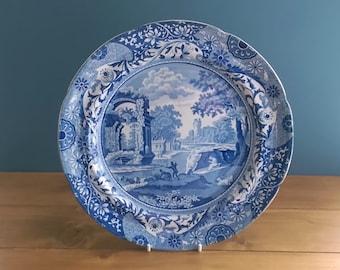 Mare British Cobalt Blue Italian pattern plate c. 1830