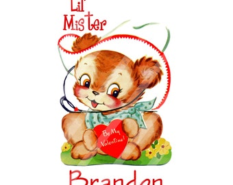 Retro Valentine Lil Mister Doggie Personalized Digital Download for iron-ons, heat transfer, Scrapbooking, Cards, Signs, DIY, You Print
