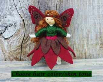 Woodland Flower Fairy Doll - Bendy Doll - Autumn Doll - Fairy Doll - Brown Hair - Fall Doll - Nature Table