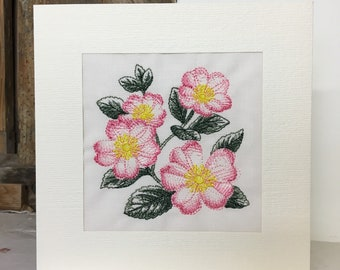 Dog Roses Embroidered Greeting Card