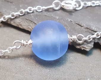 Blue Frosted Glass Choker style necklace in Sterling silver